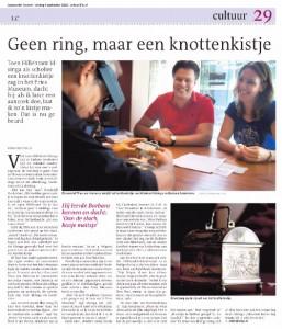 Artikel Leeuwarder Courant - Asing Walthaus - Geen ring maar een knottenkistje